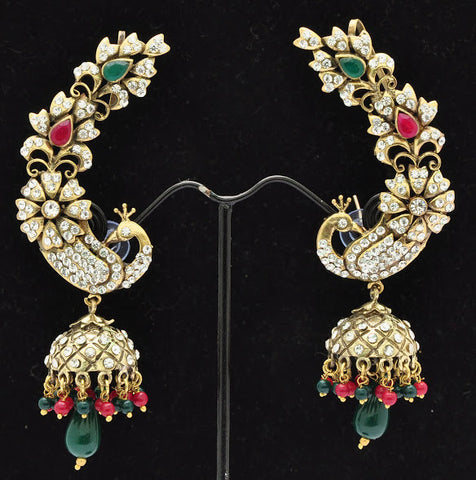 Green & Red Peacock Jhumki Earrings