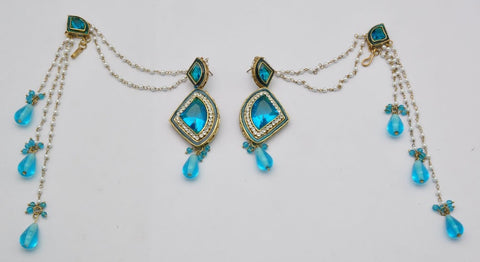 Blue Pearl & Emerald Earrings