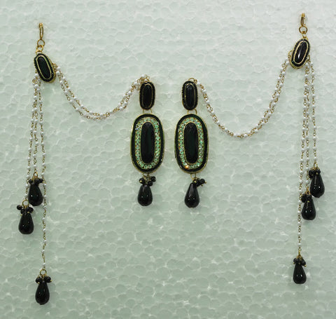 Traditional Green Chain Indian Earring