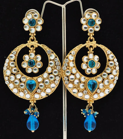 Trendy Blue Crystal Jhumki Earrings