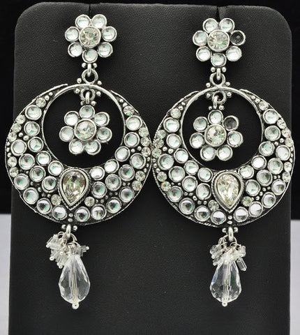 Silver Clear Crystal Jhumki Earrings