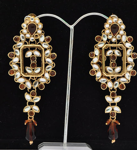 Fancy Brown Stone Jhumki Earrings