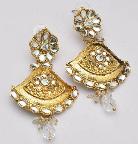Crystal Clear Gold Earrings
