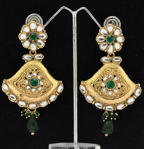 Cute Green Stone Bollywood Earrings