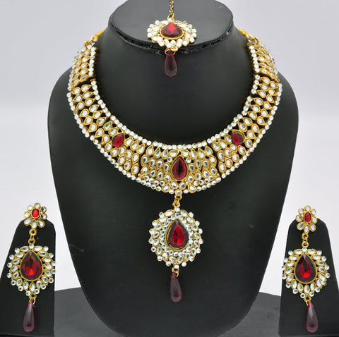 Dark Red Crystal Necklace Set