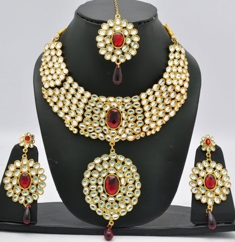 Fire Red Crystal Necklace Set