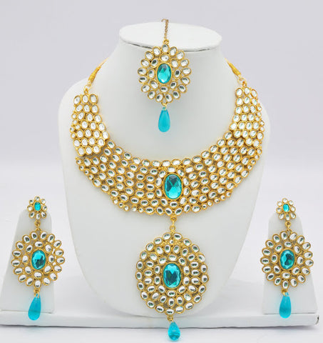 Aqua Crystal Necklace Set