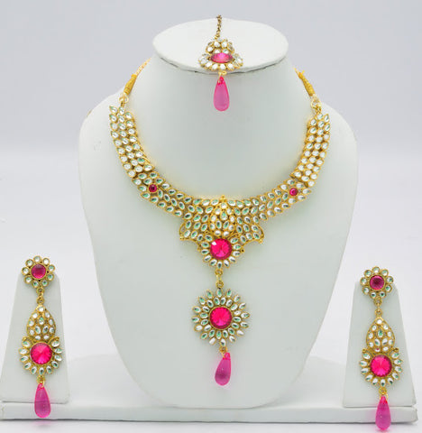 Pink Stone Crystal Necklace Set