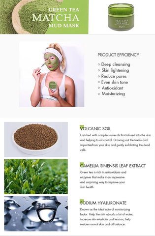 Matcha Facial Mud Mask, Removes Blackheads, Reduces Wrinkles