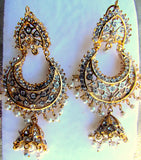 Khushrang Silver Base with Gold Plated High Quality Pakistani Jhumki Earrings Designer Earrings