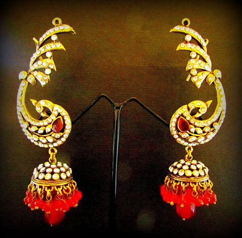 Peacock Design Red Gold Plated Jhumki Earring