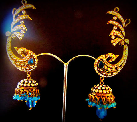 Peacock Blue Gold Plated Jhumki Earring