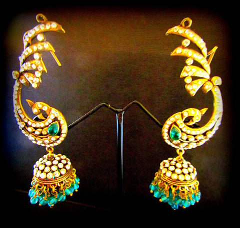 Peacock Green Gold Plated Jhumki Earring