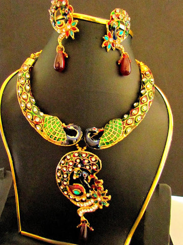 Peacock Designer Necklace Set with meena work