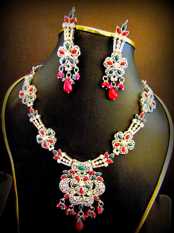 Simulated Emerald & Ruby Necklace Set