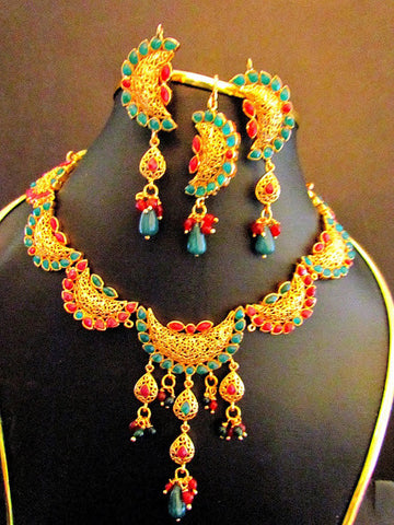 Polki Emerald & Ruby Necklace Set