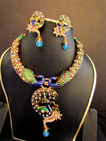 Polki Gold Plated Peacock Necklace Set