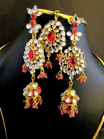 Kundan Pink Stone Dangle Earrings