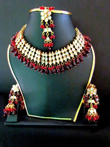 Maroon Beads Kundan Necklace Set