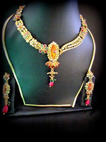 Yellow Polki Gold Plated Necklace Set