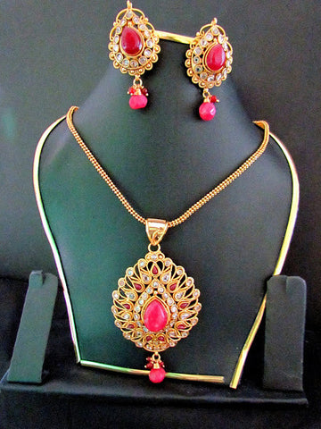 Polki Gold Plated Ruby Necklace Set