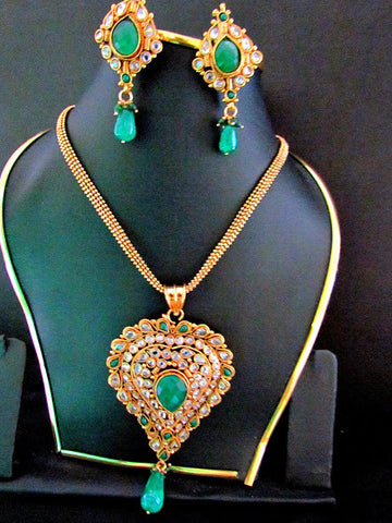 Polki Gold Plated Emerald Necklace Set