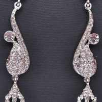 India Silver Stone Earrings