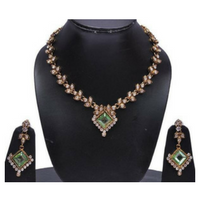 Victorian Green Stone Necklace Set