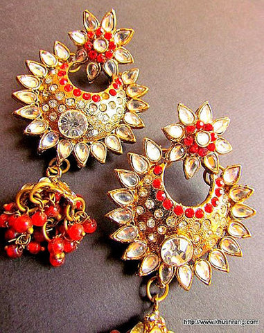 Red Studded Jhumki Earrings