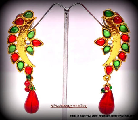 Indian Green & Red Crescent Earrings