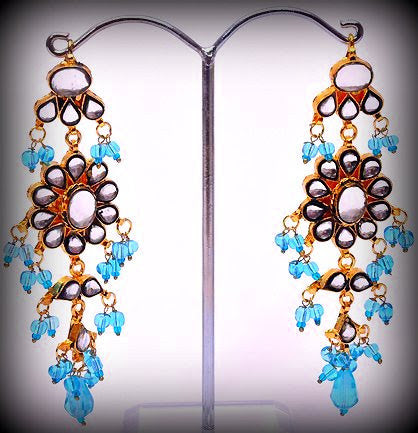 Light Blue Indian Earrings