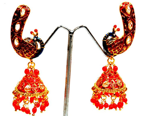 Red Fire Peacock Jhumki Earrings