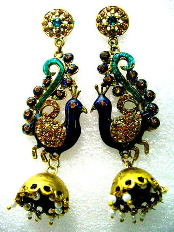 Blue Green Peacock Jhumka Earrings