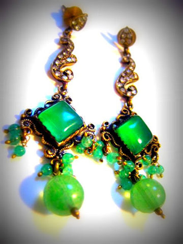 Light Green Dangle Jhumki Earrings