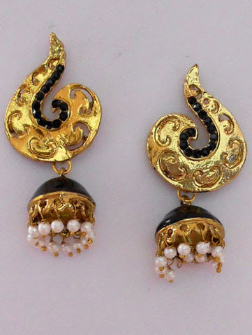 Small Black Stone Indian Earrings