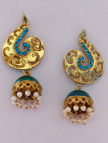 Small Blue Stone Jhumka Earrings