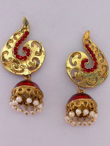 Small Red Stone Jhumka Earrings
