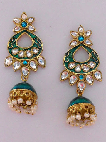 Green Tone Dome Earrings