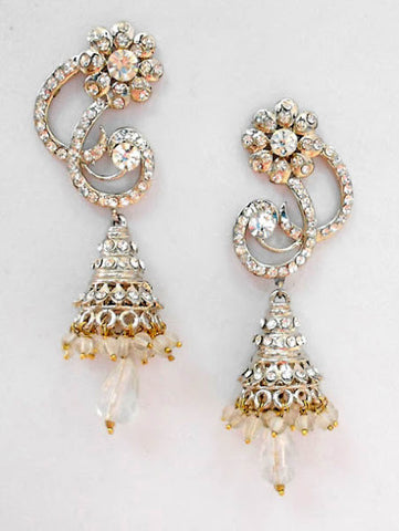 Silver Spiral Jhumka Earrings