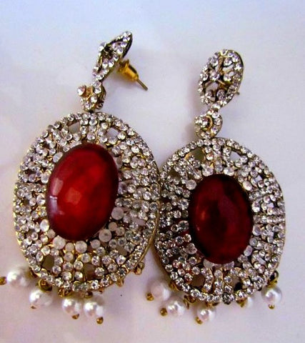 Mesmerizing Red Emerald Jhumki Earrings