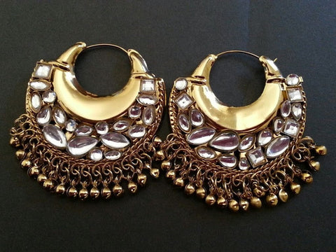 Oval Gold Plated Indian Earrings