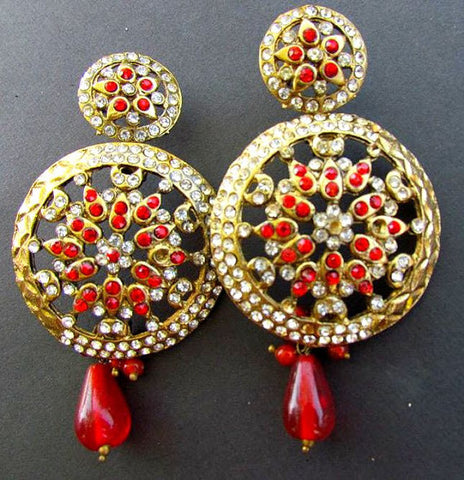 Red & White Diamond Jhumki Earrings