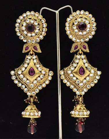 Purple Jaded Gold Indian Earrings