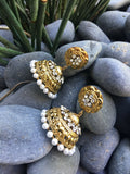 Indian jhumka pearl earrings