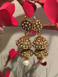 Golden Polki Jhumka Earrings