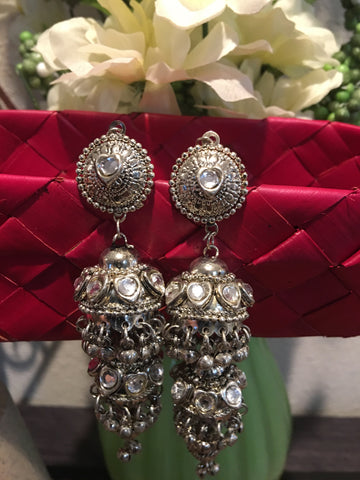 Silver Light Weight Jhumka Earrings Indian Bollywood Jewellery