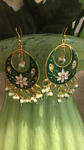 Green meena kari gold jewelry earrings