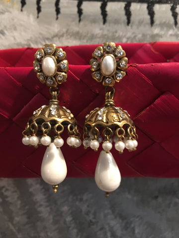 Golden White Stone Vintage Earrings Jhumki