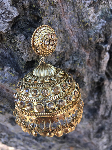 Big Gold Jhumka earrings from India