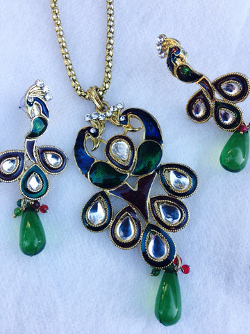 Green Peacock Meena Kundan Pendant Necklace Set
